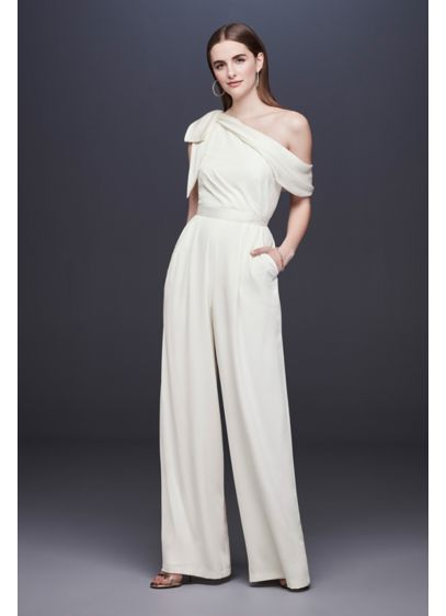 One Shoulder Crepe Wedding Jumpsuit With Bow David S Bridal