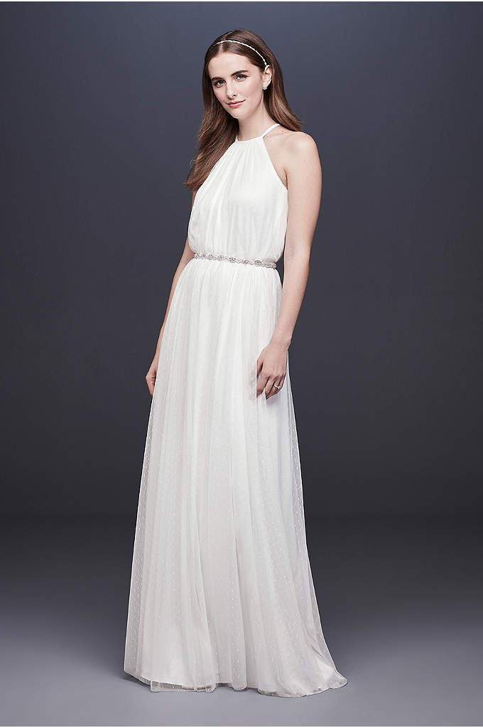 Point D'Esprit High Neck Sheath Wedding Dress - This ultra-flowy point d'esprit tulle dress features a