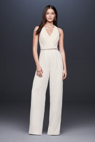 Racerback Crepe Jumpsuit with Crystal Belt - A chic look for a modern wedding or