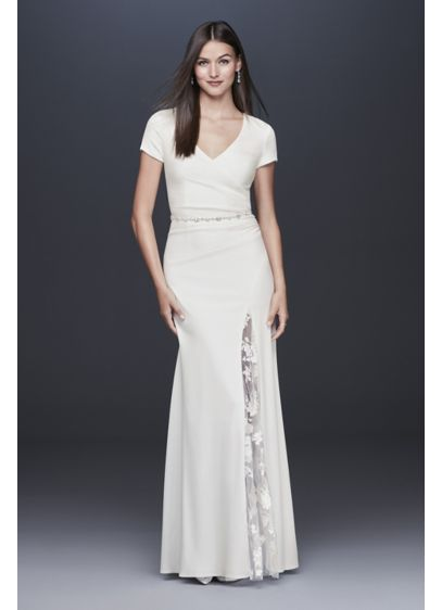 Crepe Sheath Gown with Embroidered Illusion Slit - Satin floral-embroidered illusion fabric covers the open back