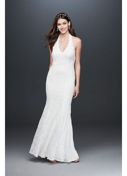 Low Back Eyelash Lace Halter Sheath Dress - This romantic allover lace halter gown combines beauty