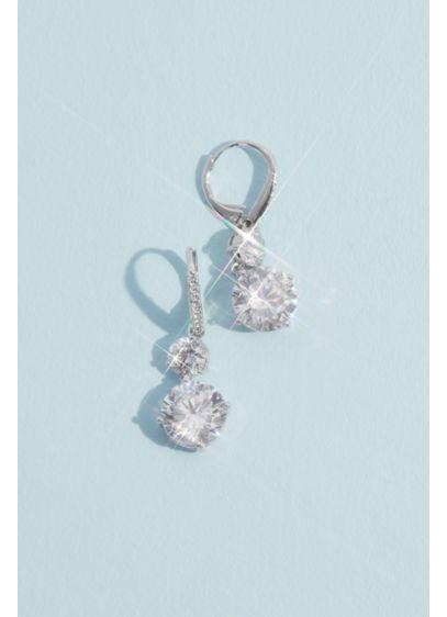 Rhodium and Cubic Zirconia Double Drop Earrings - Wedding Accessories