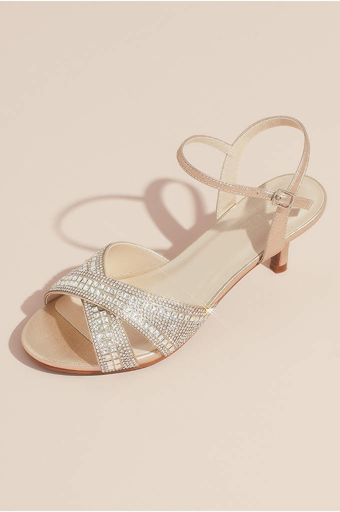 Crisscross Crystal Ankle Strap Heeled Sandals