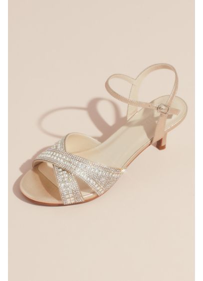 David's Bridal Ivory (Crisscross Crystal Ankle Strap Heeled Sandals)