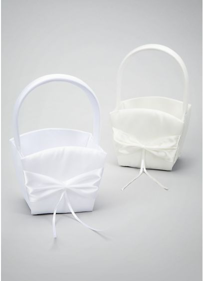 Simple Satin Flower Girl Basket - Wedding Gifts & Decorations