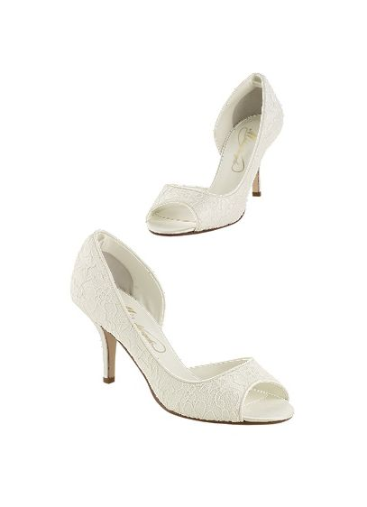 Ivory (Lace peep toe pump with open shank)