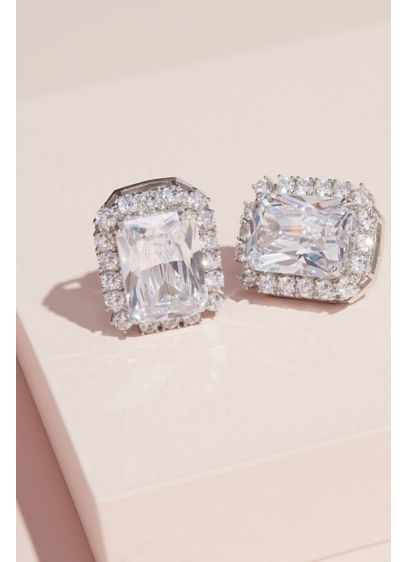 Oversized Emerald-Cut Halo Clip-On Earrings - Add this elegant pair of halo-outlined emerald-cut crystal