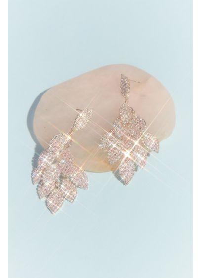 Layered Crystal Leaf Earrings - Wedding Accessories