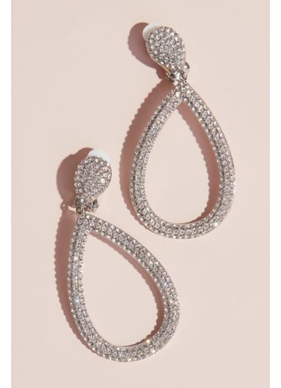Clip-On Swarovski Open Pear-Shaped Drop Earrings - Add dramatic flair to your formalwear with these