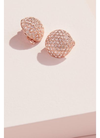 Swarovski Pave Crystal Clip-On Button Earrings - Wedding Accessories