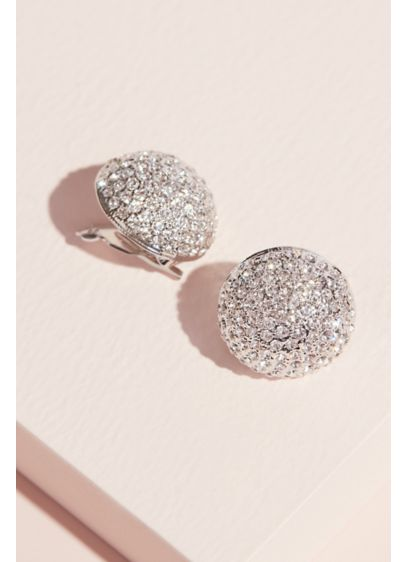 Nina Grey (Pave Swarovksi Crystal Button Clip-On Earrings)