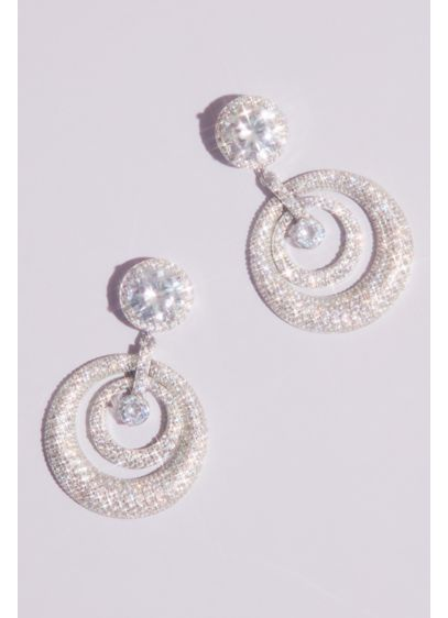 Nina Grey (Domed Swarovski Crystal Pave Hoop Post Earrings)