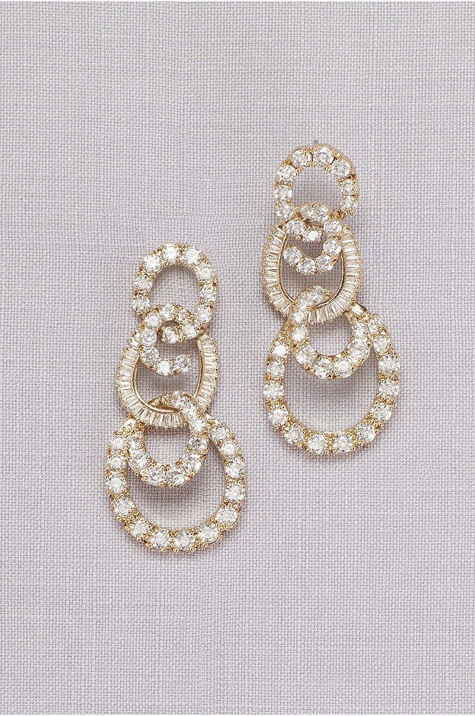 Crystal Circle Quartet Earrings - Round out your wedding day look with this