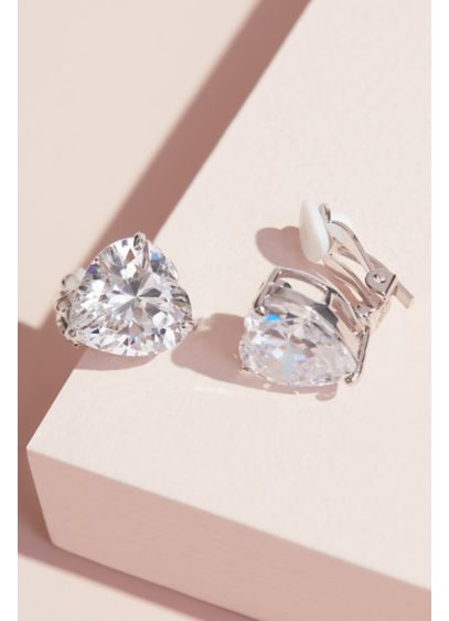 Heart-Cut Cubic Zirconia Clip-On Earrings - These lovely clip-on earrings feature an oversized heart-shaped