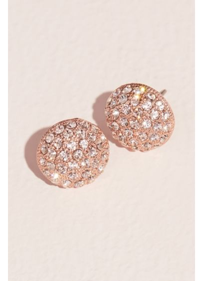 Pave Swarovski Crystal Button Stud Earrings - Wedding Accessories