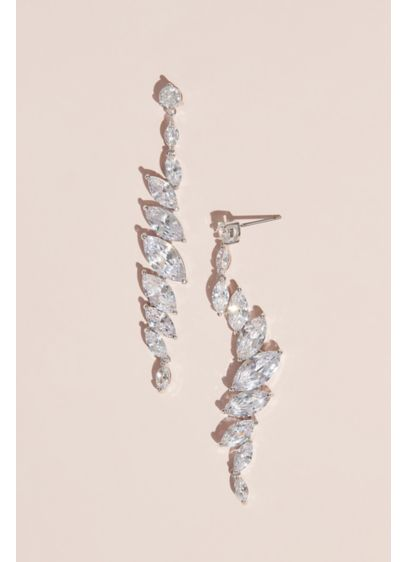 Angled Marquise-Cut Cubic Zirconia Crystal Earring - These dazzling drop marquise-cut cubic zirconia earrings will
