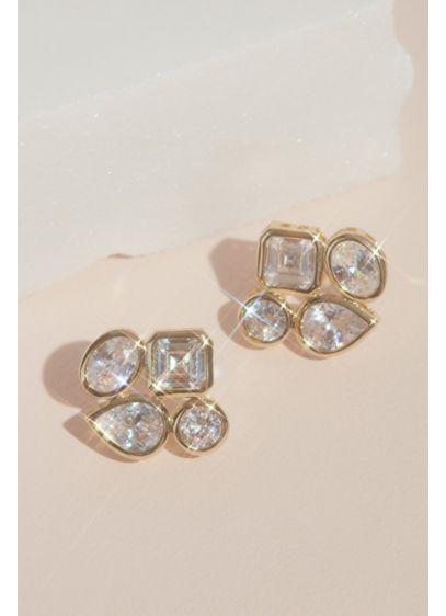 Cubic Zirconia Quad Cluster Stud Earrings - Wedding Accessories