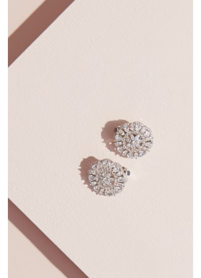 Marquise and Pear Sunburst Lever-Back Earrings - Accented with halos of pave stones, a budding