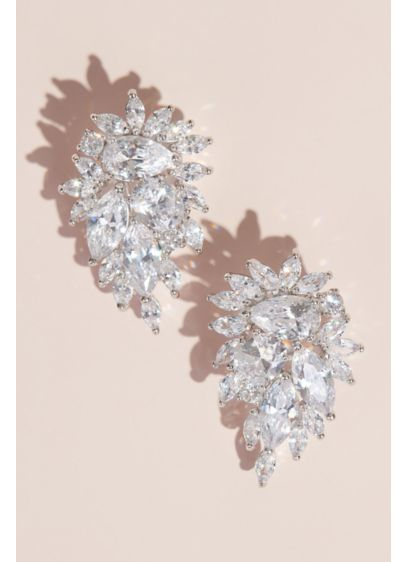 Clip-On Cubic Zirconia Crystal Cluster Earrings - Lavish bursts of cubic zirconia form a cluster