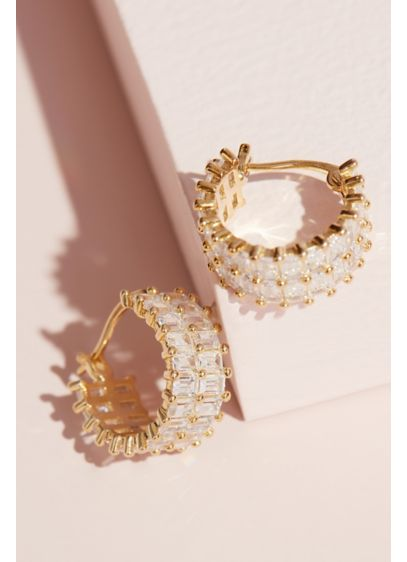 Double Baguette Crystal Half Hoop Earrings - Two rows of glimmering baguette-cut crystals curve to