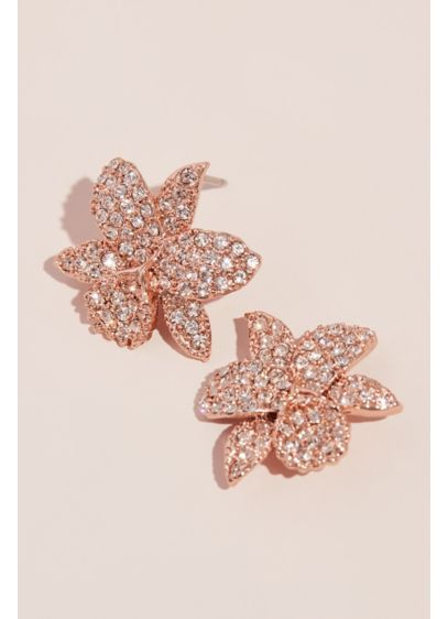 Swarovski Crystal Blooming Flower Stud Earrings - Delicate petals, layered with luxurious Swarovski crystals, form