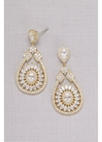 Crystal Medallion Drop Earrings - Wedding Accessories
