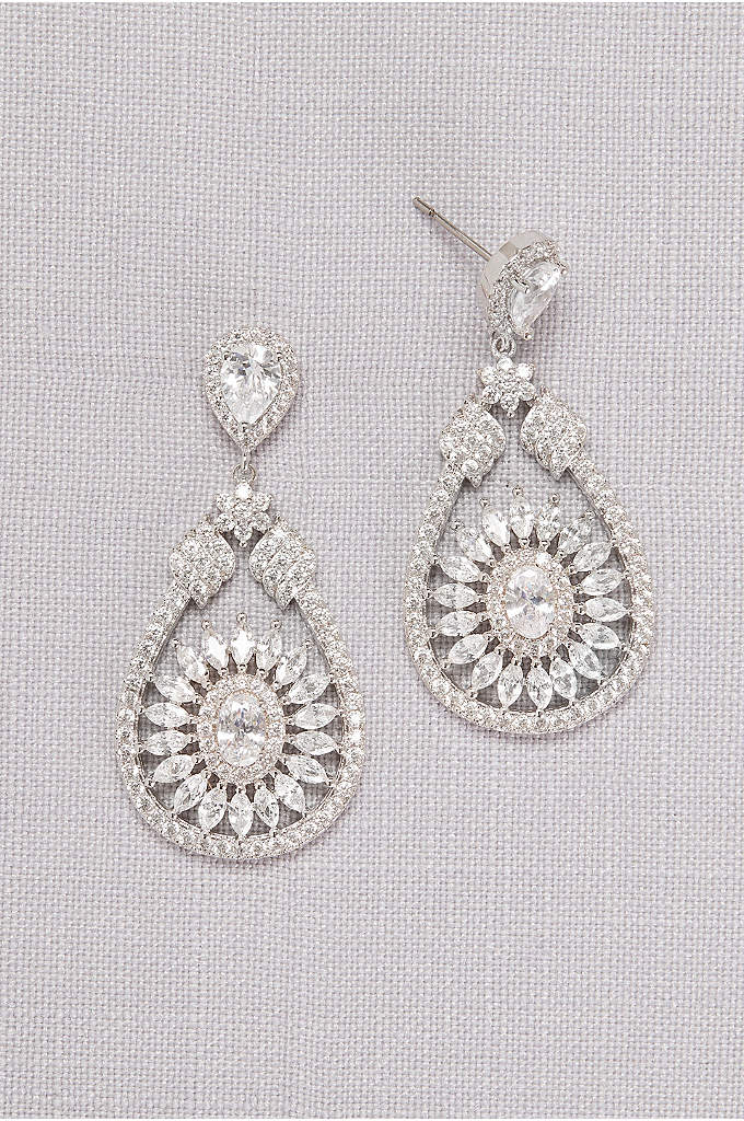 Crystal Medallion Drop Earrings - Cubic zirconia's and Swarovski crystals large and small