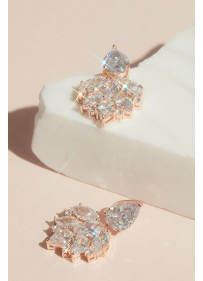Cubic Zirconia Cluster Drop Earrings - Wedding Accessories