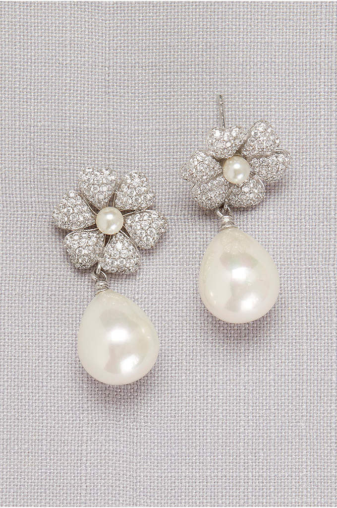 Crystal-Dusted Pearl Drop Earrings - Luminous pearls hang from crystal-dusted hibiscus blooms on
