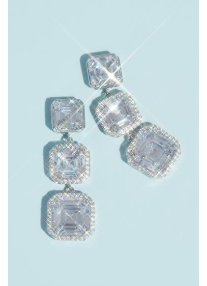 Haloed Asscher-Cut Cubic Zirconia Drop Earrings - Pave cubic zirconia halo a graduating column of