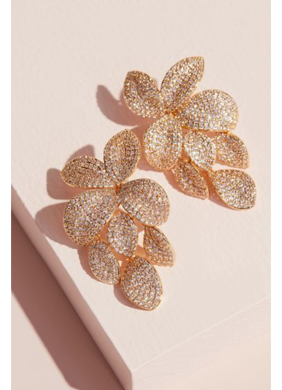 Nina Yellow (Pave Crystal Petals Flower Drop Earrings)