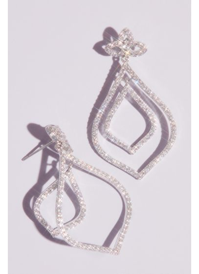 Nina Grey (Pave Cubic Zirconia Leaf Outline Drop Earrings)