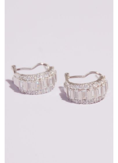 Cubic Zirconia Edged Baguette Mini Hoops - These baguette-encrusted mini hoops pack a ton of