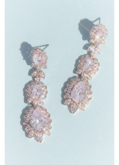 Crystal Floral Drop Earrings - Wedding Accessories
