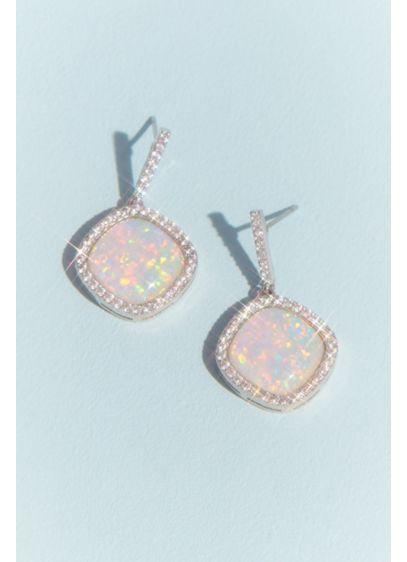 Haloed Cabochon Drop Earrings - Wedding Accessories