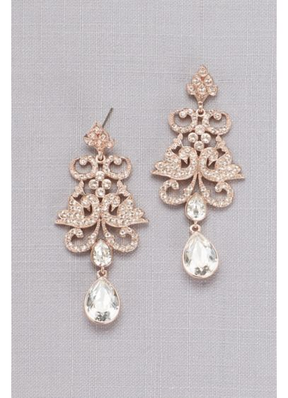 Pave Crystal Filigree Earrings - Wedding Accessories