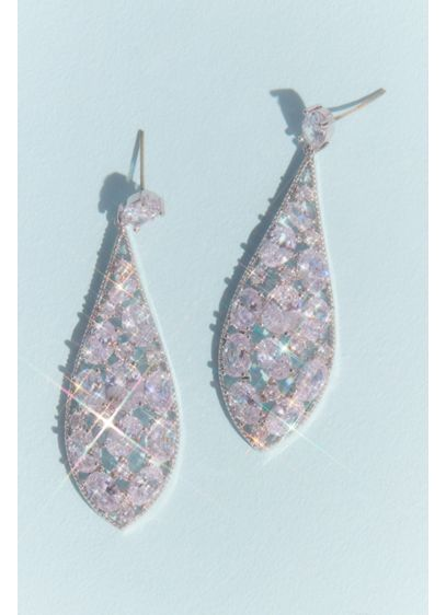 Cubic Zirconia Cluster Teardrop Earrings - Wedding Accessories