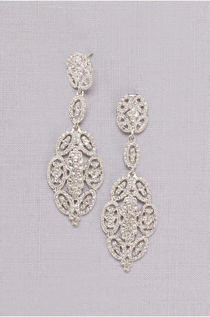Linked Crystal Oval Earrings - Featuring interconnected ovals of crystal filigree, these vintage-inspired