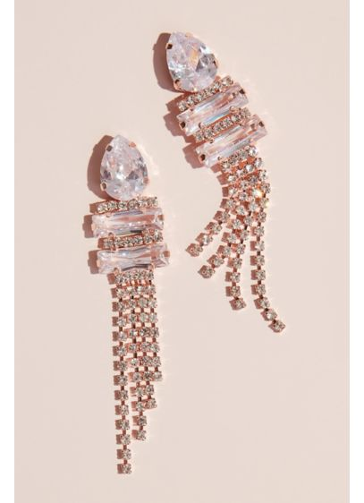 Pear Cubic Zirconia Drop Earrings with Fringe - Add art-deco era glam to your look with