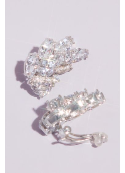 Cubic Zirconia Vintage Leaf Clip-On Earrings - Wedding Accessories
