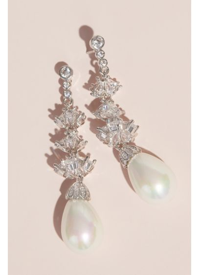 Pearl Drop Earrings with Cubic Zirconia Crystals - Wedding Accessories