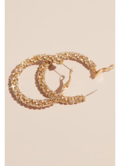 Cubic Zirconia Cupchain-Wrapped Hoop Earrings - Absolutely encrusted in cubic zirconia, these cool hoops