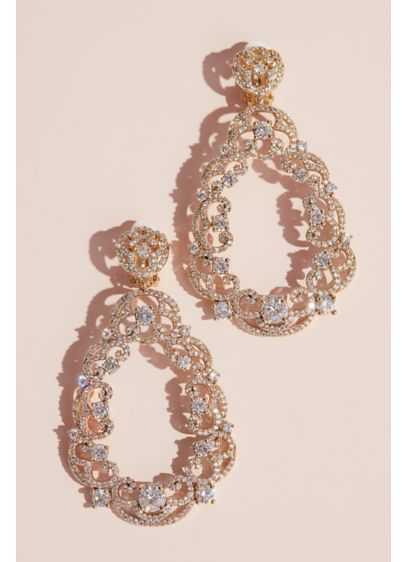 Filigree Crystal Teardrop Earrings - Wedding Accessories