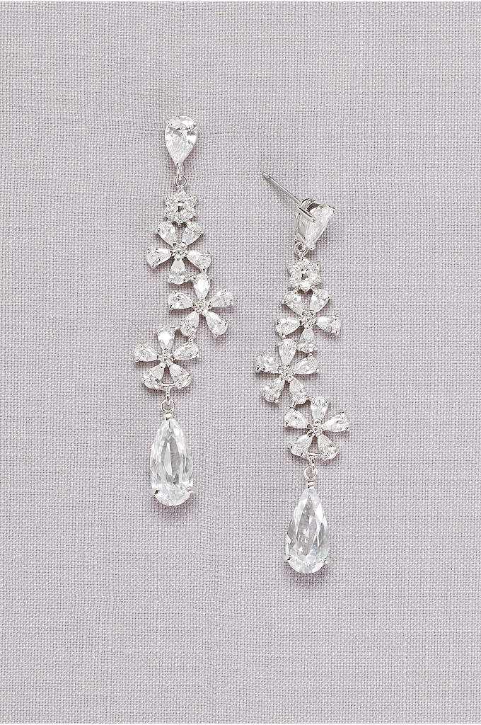 Flower Trio Crystal Drop Earrings - Three crystal flowers and a single faceted teardrop