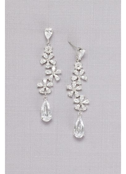 Flower Trio Crystal Drop Earrings - Wedding Accessories