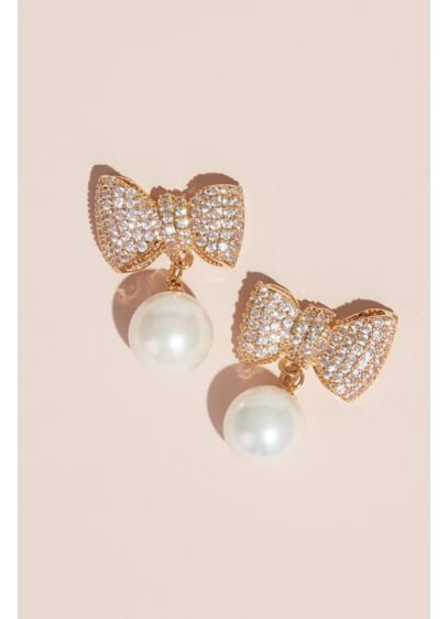 Crystal and Pearl Bow Cubic Zirconia Stud Earrings - Dress up or dress down this pair of