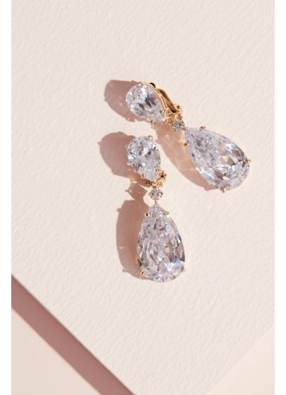 Cubic Zirconia Teardrop Dangle Clip-On Earrings - Simple yet stunning, this pair of clip-on earrings