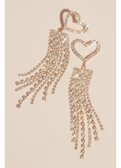Heart and Fringe Crystal Earrings - Wedding Accessories