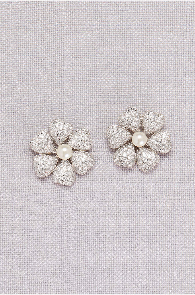 Crystal-Dusted Hibiscus Earrings with Pearls - Lustrous pearls shimmer from the centers of these