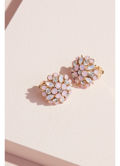 Nina Pink (Marquise Floral Burst Stud Clip-On Earrings)